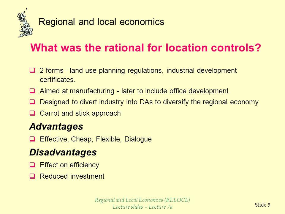 Regional and local economics Slide 6 Tax incentives and capital grants.