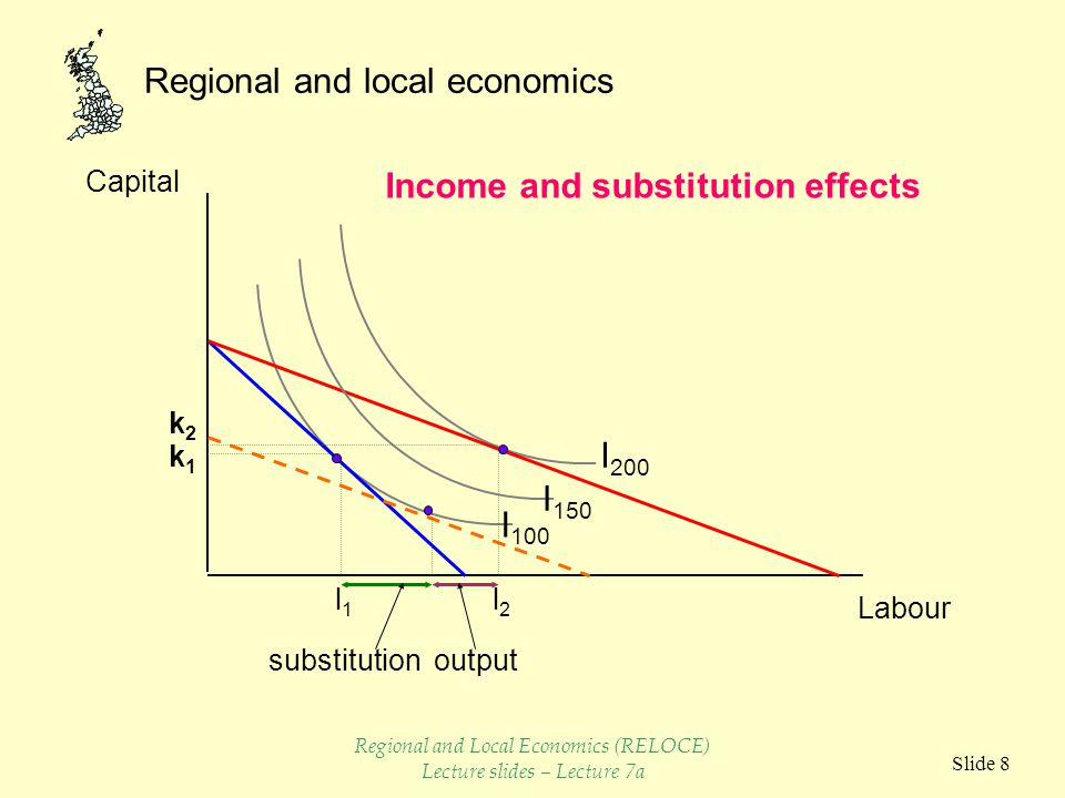 Regional and local economics Slide 8 Capital Labour I 100 I 200 I 150 l1l1 k2k2 k1k1 l2l2 substitutionoutput Income and substitution effects Regional