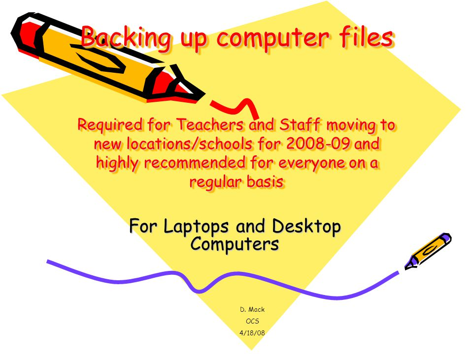 Backing up computer files Required for Teachers and Staff moving to new locations/schools for 2008-09 and highly recommended for everyone on a regular basis For Laptops and Desktop Computers D.