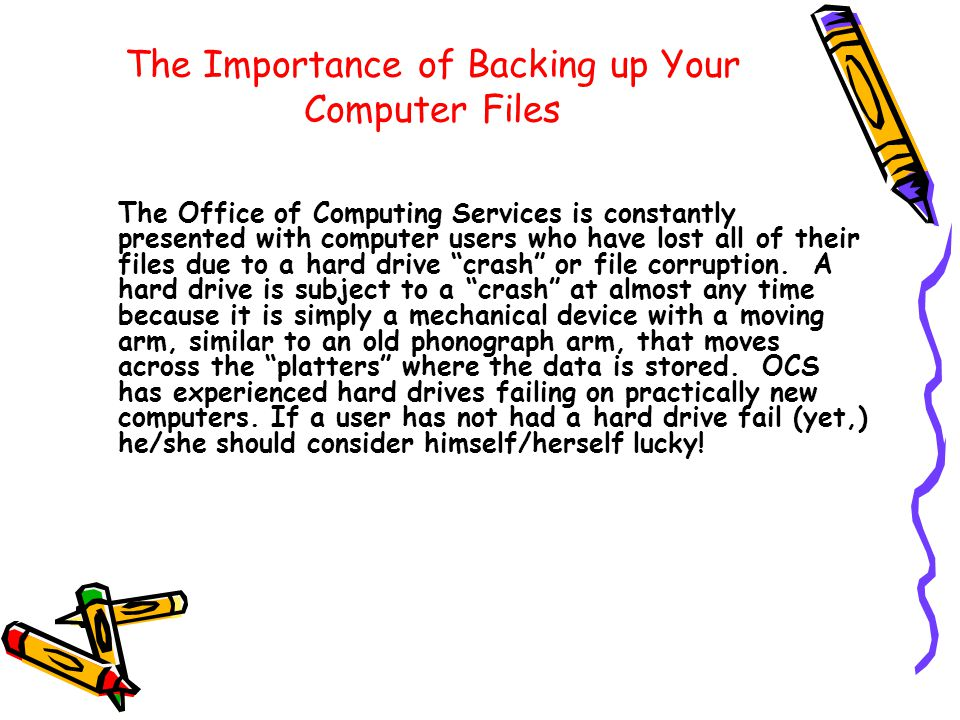 Overview of Backup Procedures Delete any unnecessary files - don't copy what you don't need Don't try to back up personal pictures and music on your data backup – burn them on a CD, DVD, or larger external hard drive Make a new folder on the Desktop and copy everything you really need into that folder Make individual folders inside the main folder to keep everything organized – name them my docs , favs , dsktop , etc Copy your files into those folders inside the main backup folder and then copy the main backup folder to a flash drive or external hard drive View the remainder of this tutorial for more details and hints for locating your Favorites and other copying tips