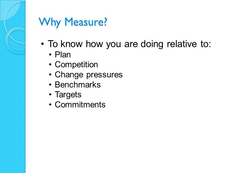 Why Measure.To identify improvement opportunities.