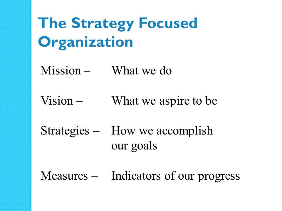 Environmental Scan Strengths Weaknesses Opportunities Threats Values Mission & Vision Strategic Issues Strategic Priorities Objectives, Initiatives, and Evaluation A Model for Strategic Planning