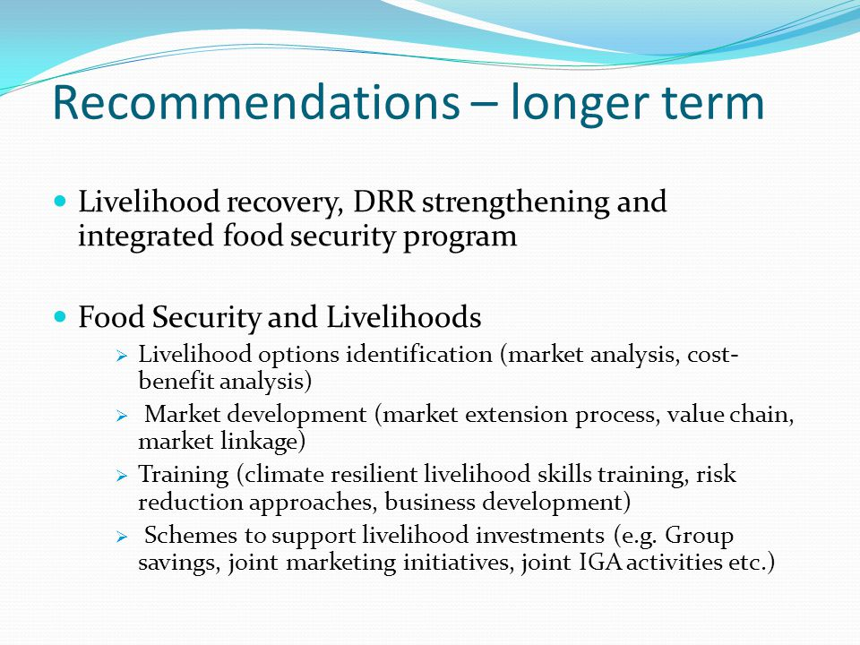 Recommendations – longer term Livelihood recovery, DRR strengthening and integrated food security program Food Security and Livelihoods  Livelihood options identification (market analysis, cost- benefit analysis)  Market development (market extension process, value chain, market linkage)  Training (climate resilient livelihood skills training, risk reduction approaches, business development)  Schemes to support livelihood investments (e.g.