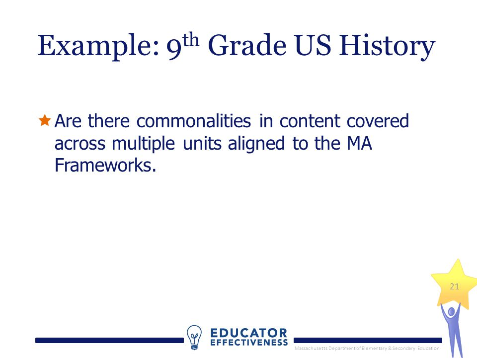 Massachusetts Department of Elementary & Secondary Education 21 Example: 9 th Grade US History  Are there commonalities in content covered across multiple units aligned to the MA Frameworks.