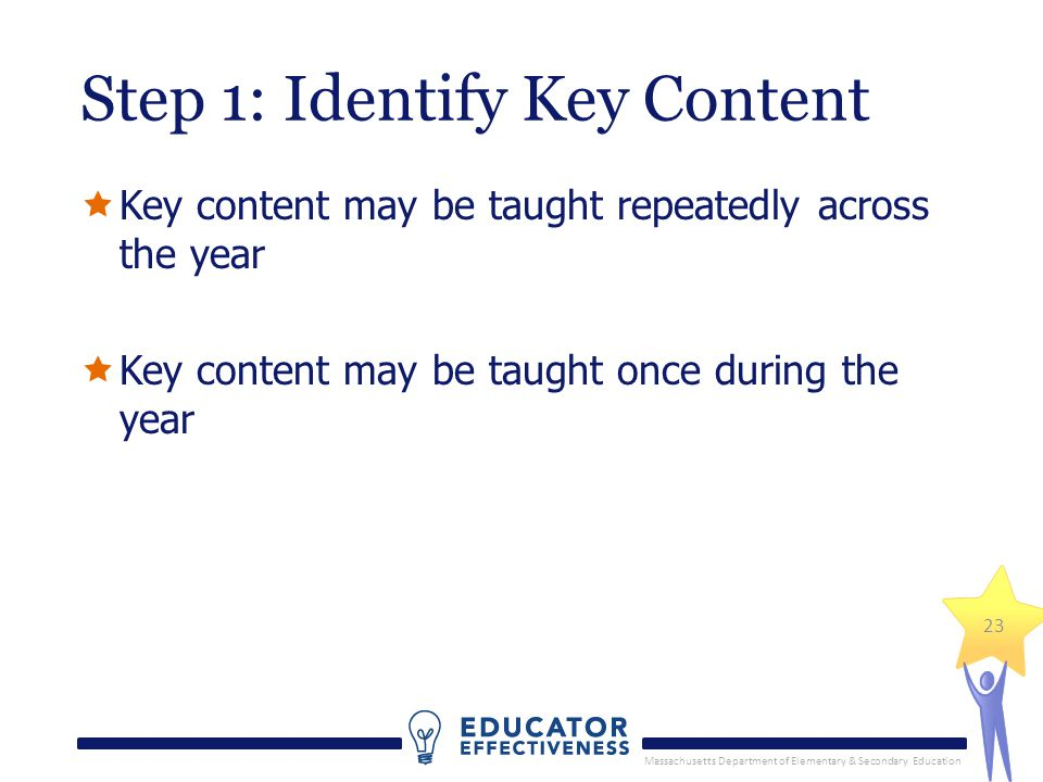 Massachusetts Department of Elementary & Secondary Education 23 Step 1: Identify Key Content  Key content may be taught repeatedly across the year  Key content may be taught once during the year