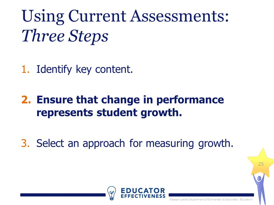 Massachusetts Department of Elementary & Secondary Education 25 Using Current Assessments: Three Steps 1.Identify key content.