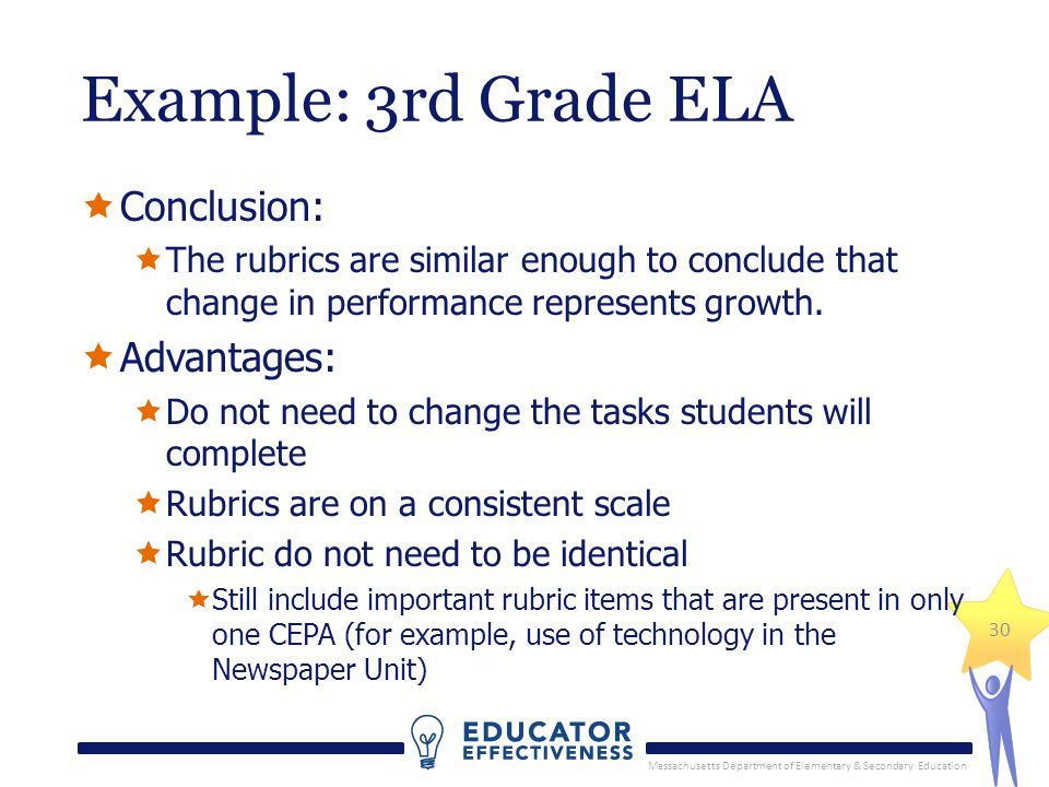 Massachusetts Department of Elementary & Secondary Education 30 Example: 3rd Grade ELA  Conclusion:  The rubrics are similar enough to conclude that change in performance represents growth.