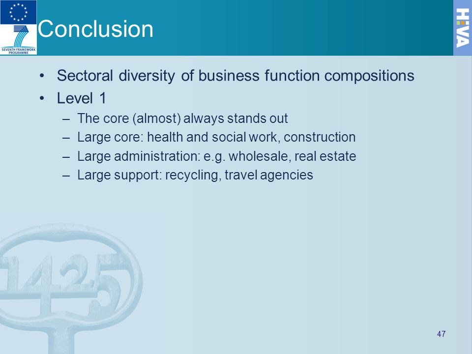 Conclusion Sectoral diversity of business function compositions Level 1 –The core (almost) always stands out –Large core: health and social work, construction –Large administration: e.g.