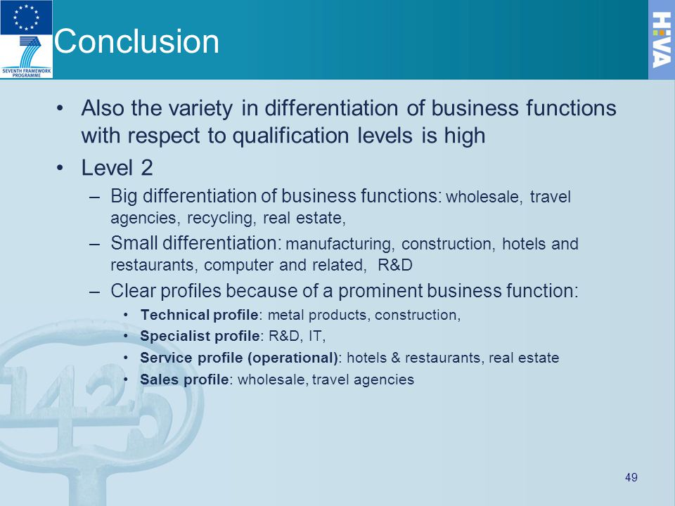 Conclusion Also the variety in differentiation of business functions with respect to qualification levels is high Level 2 –Big differentiation of business functions: wholesale, travel agencies, recycling, real estate, –Small differentiation: manufacturing, construction, hotels and restaurants, computer and related, R&D –Clear profiles because of a prominent business function: Technical profile: metal products, construction, Specialist profile: R&D, IT, Service profile (operational): hotels & restaurants, real estate Sales profile: wholesale, travel agencies 49