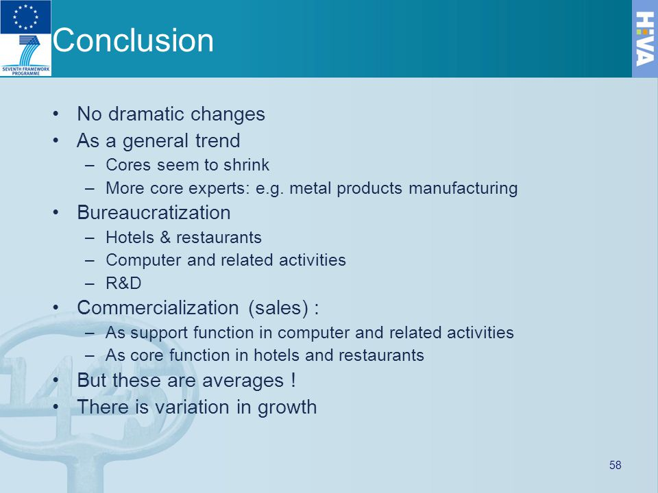 Conclusion No dramatic changes As a general trend –Cores seem to shrink –More core experts: e.g.