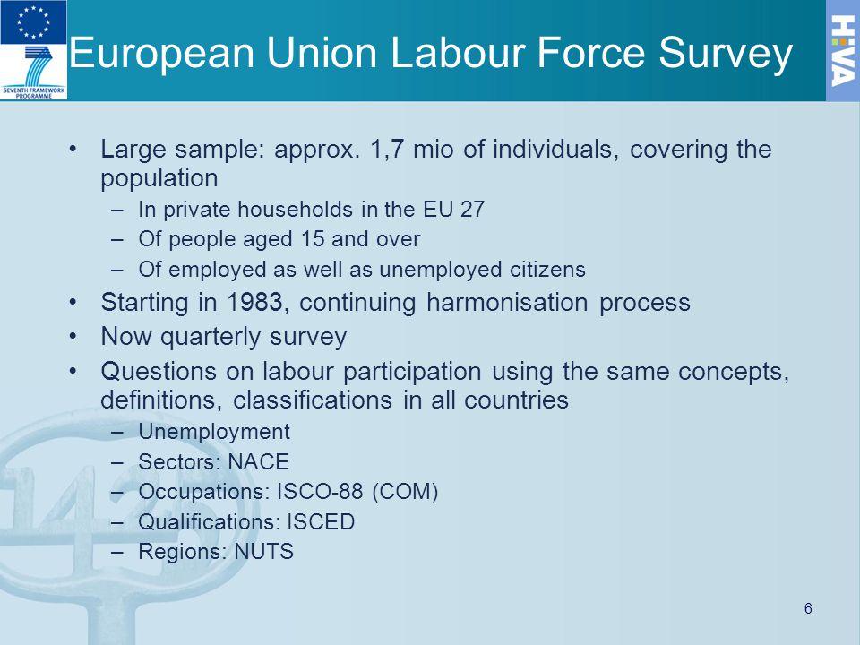 European Union Labour Force Survey Large sample: approx.