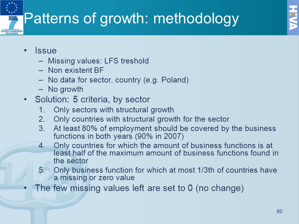 Patterns of growth: methodology Issue –Missing values: LFS treshold –Non existent BF –No data for sector, country (e.g.