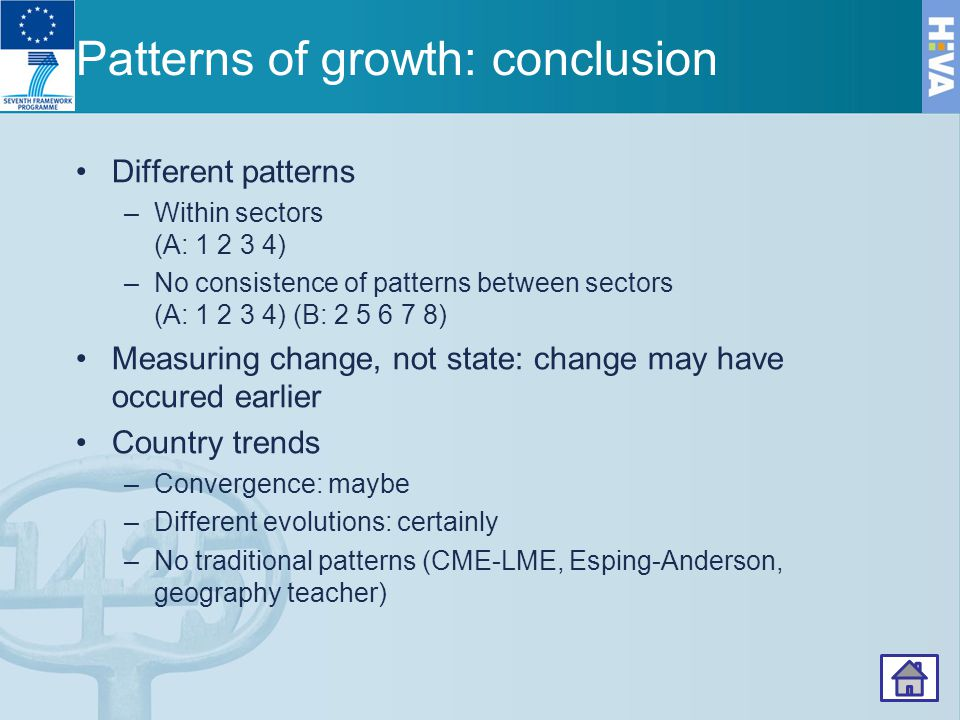 Patterns of growth: conclusion Different patterns –Within sectors (A: 1 2 3 4) –No consistence of patterns between sectors (A: 1 2 3 4) (B: 2 5 6 7 8) Measuring change, not state: change may have occured earlier Country trends –Convergence: maybe –Different evolutions: certainly –No traditional patterns (CME-LME, Esping-Anderson, geography teacher) 66