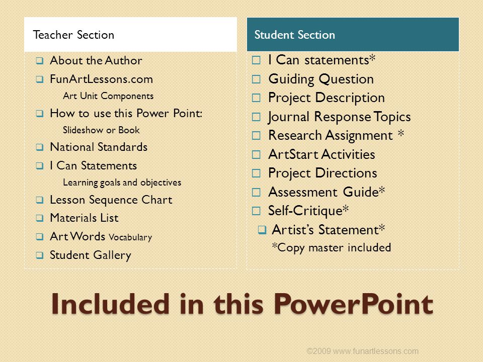 Included in this PowerPoint Teacher SectionStudent Section  About the Author  FunArtLessons.com Art Unit Components  How to use this Power Point: Slideshow or Book  National Standards  I Can Statements Learning goals and objectives  Lesson Sequence Chart  Materials List  Art Words Vocabulary  Student Gallery  I Can statements*  Guiding Question  Project Description  Journal Response Topics  Research Assignment *  ArtStart Activities  Project Directions  Assessment Guide*  Self-Critique*  Artist's Statement* *Copy master included ©2009 www.funartlessons.com