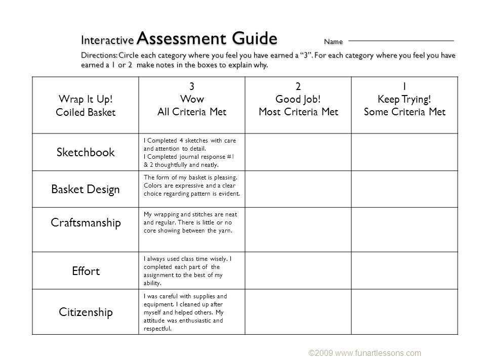 Interactive Assessment Guide Name Directions: Circle each category where you feel you have earned a 3 .