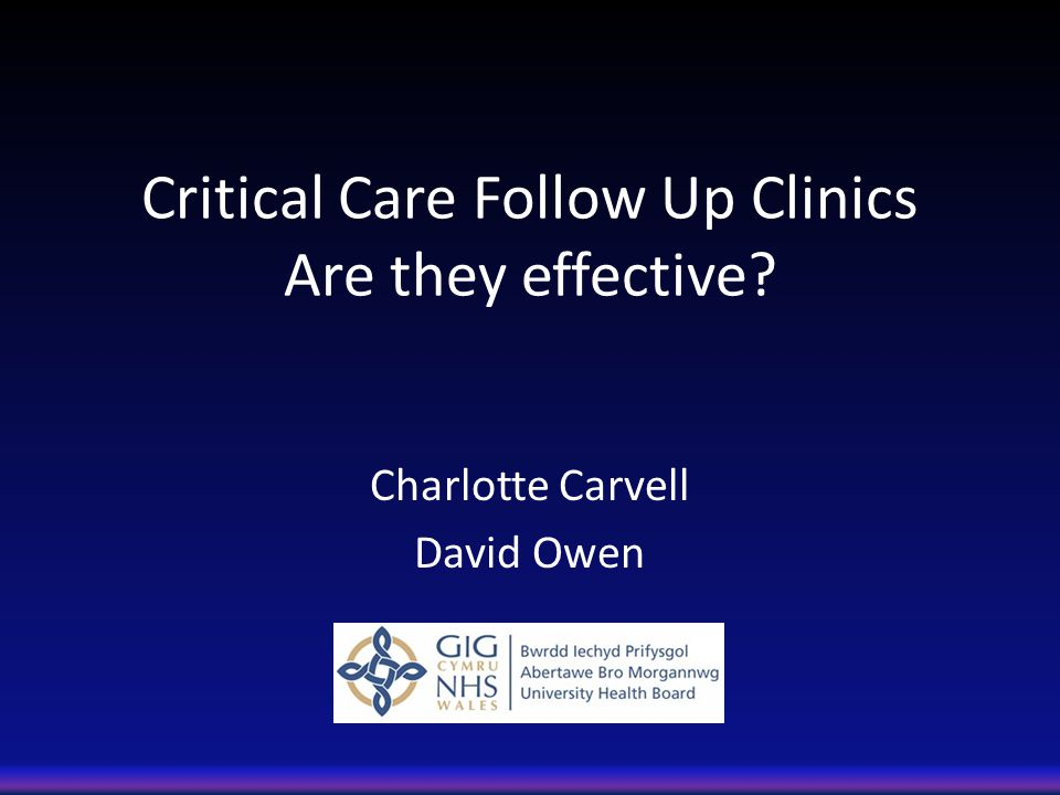 Critical Care Follow Up Clinics Are they effective? Charlotte Carvell David Owen
