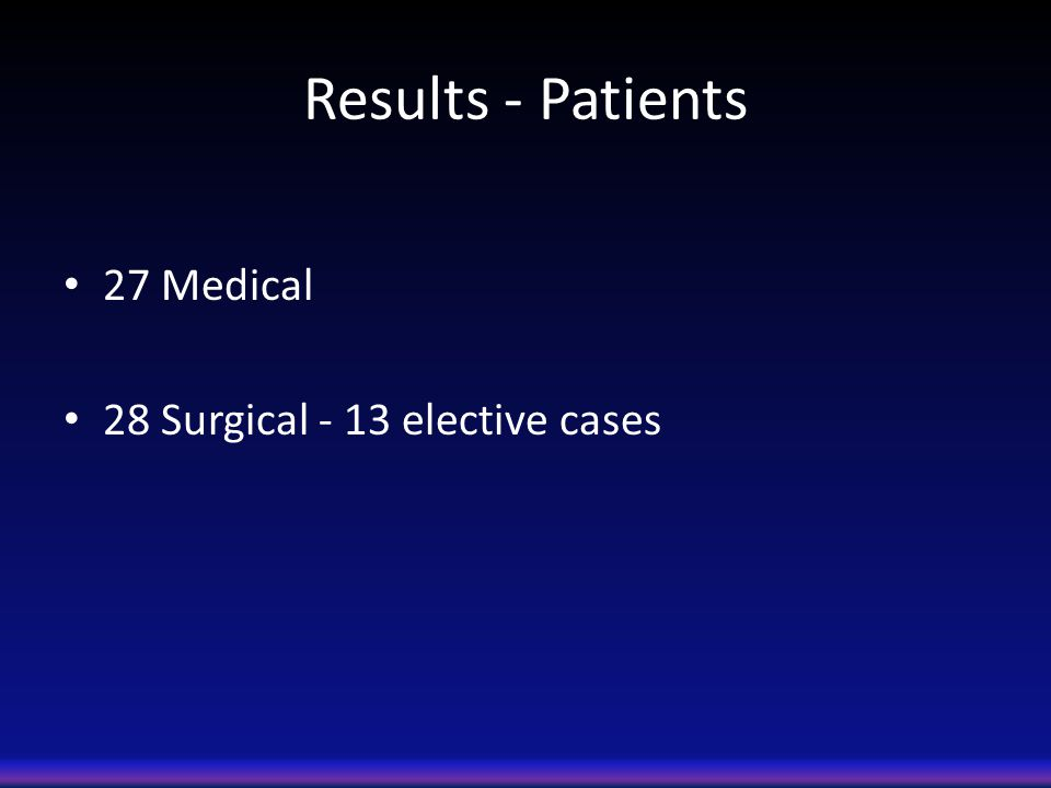 Results - Patients 27 Medical 28 Surgical - 13 elective cases