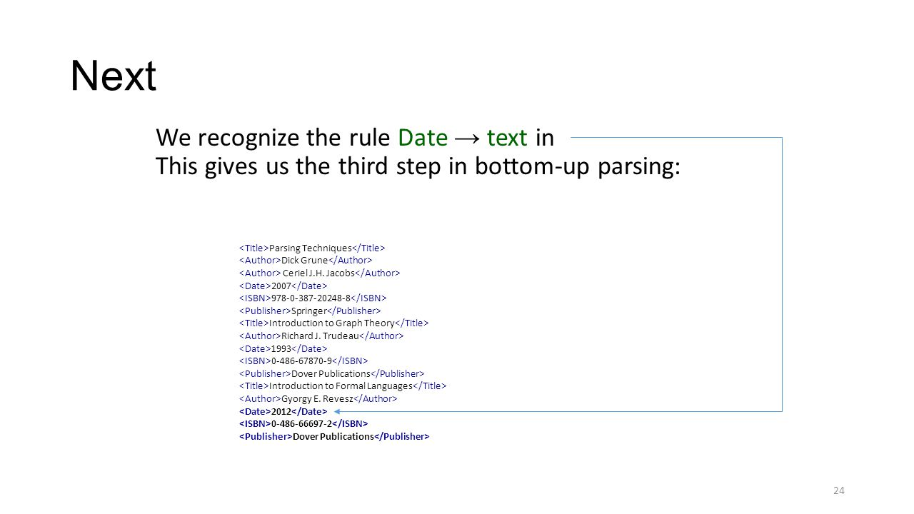 Next We recognize the rule Date → text in This gives us the third step in bottom-up parsing: 24 Parsing Techniques Dick Grune Ceriel J.H. Jacobs 2007