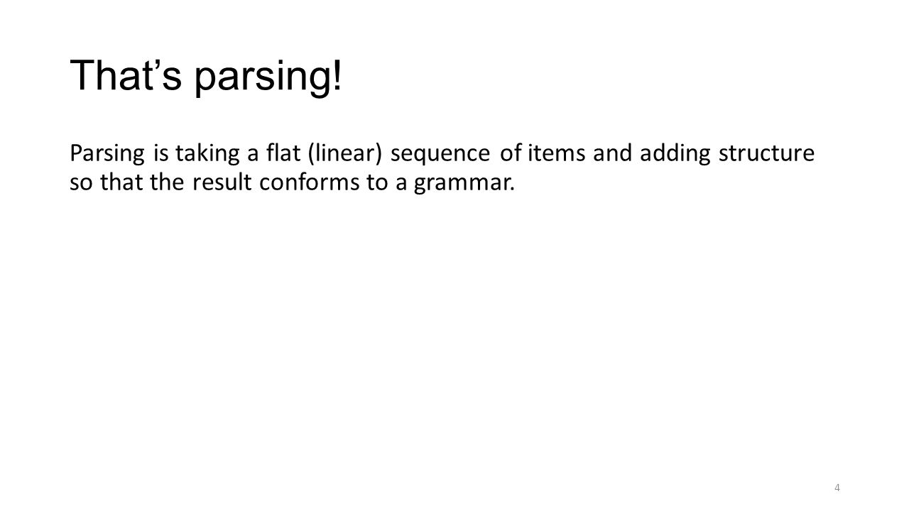 That's parsing! Parsing is taking a flat (linear) sequence of items and adding structure so that the result conforms to a grammar. 4
