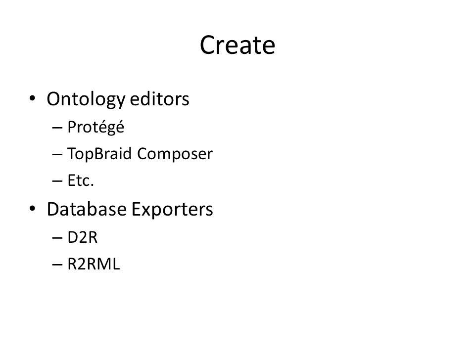Create Ontology editors – Protégé – TopBraid Composer – Etc. Database Exporters – D2R – R2RML