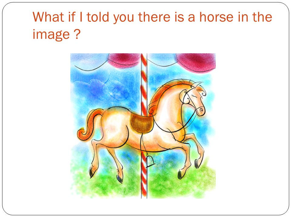 What if I told you there is a horse in the image ?