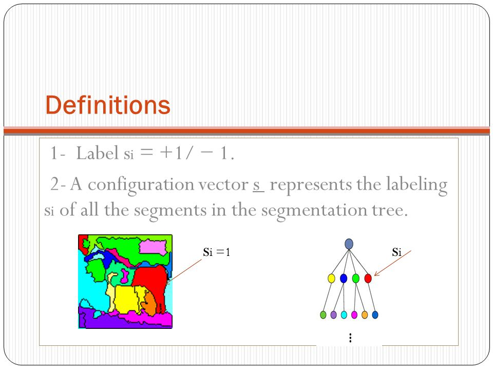 Definitions 1- Label s i = +1/ − 1. 2- A configuration vector s represents the labeling s i of all the segments in the segmentation tree. sisi s i =1