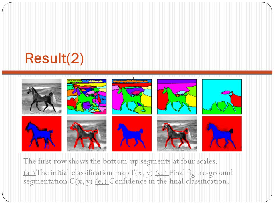 Result(2) The first row shows the bottom-up segments at four scales. (a.) The initial classification map T(x, y) (c.) Final figure-ground segmentation