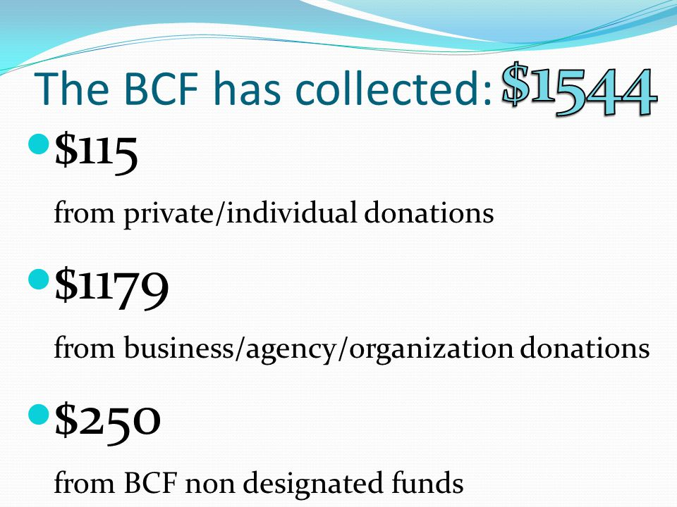 The BCF has collected: $115 from private/individual donations $1179 from business/agency/organization donations $250 from BCF non designated funds