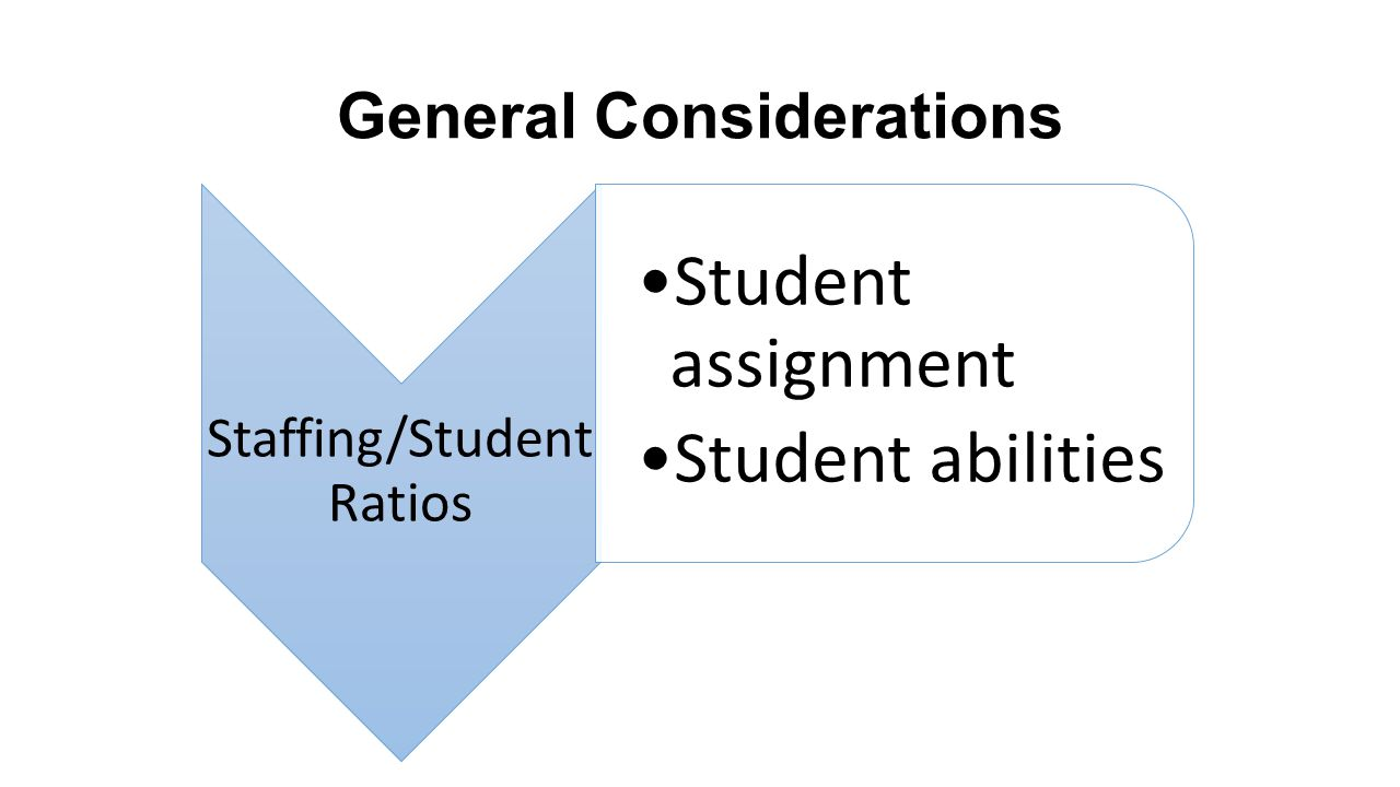General Considerations Staffing/Student Ratios Student assignment Student abilities