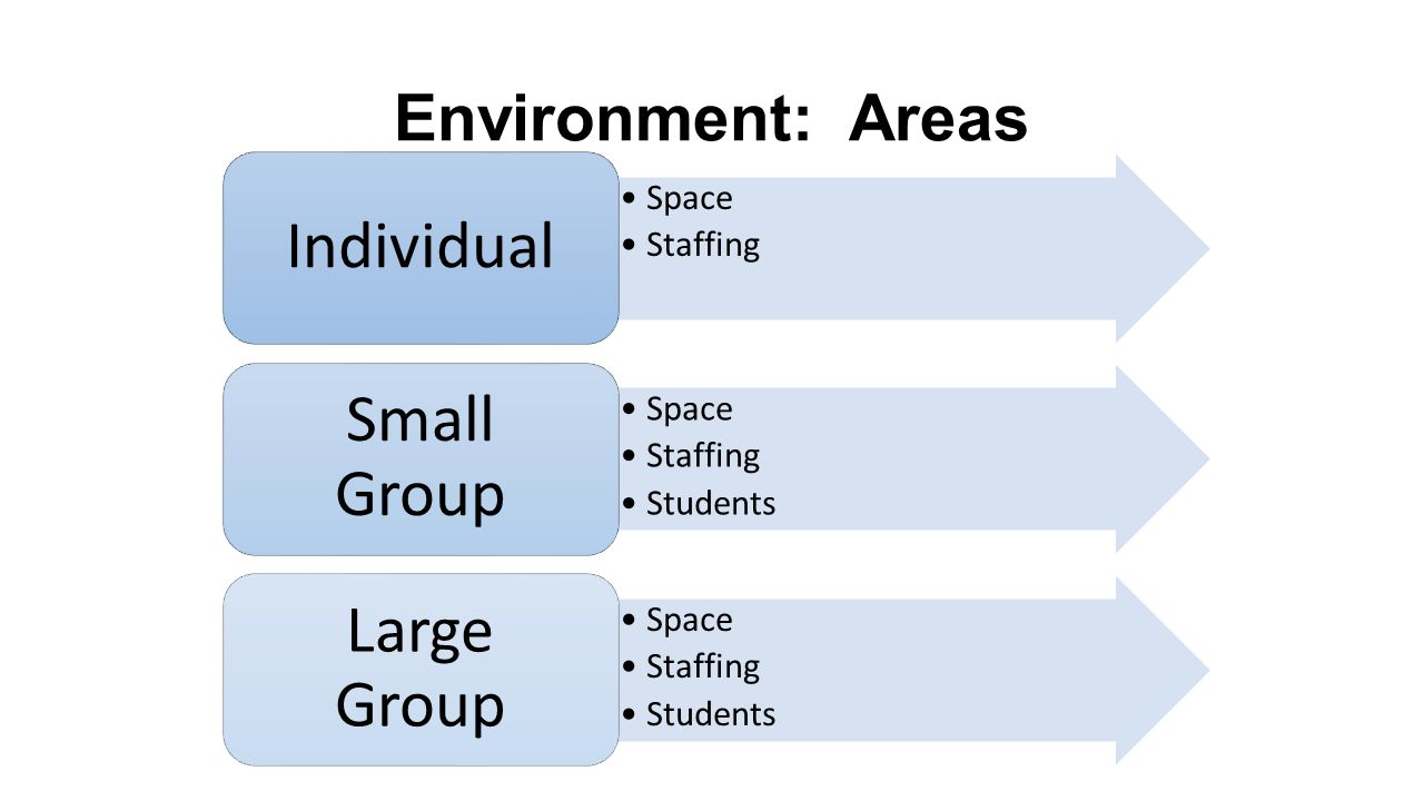 Environment: Areas Space Staffing Individual Space Staffing Students Small Group Space Staffing Students Large Group