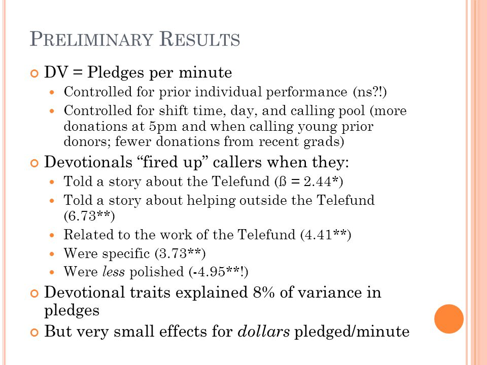 P RELIMINARY R ESULTS DV = Pledges per minute Controlled for prior individual performance (ns !) Controlled for shift time, day, and calling pool (more donations at 5pm and when calling young prior donors; fewer donations from recent grads) Devotionals fired up callers when they: Told a story about the Telefund (ß = 2.44*) Told a story about helping outside the Telefund (6.73**) Related to the work of the Telefund (4.41**) Were specific (3.73**) Were less polished (-4.95**!) Devotional traits explained 8% of variance in pledges But very small effects for dollars pledged/minute