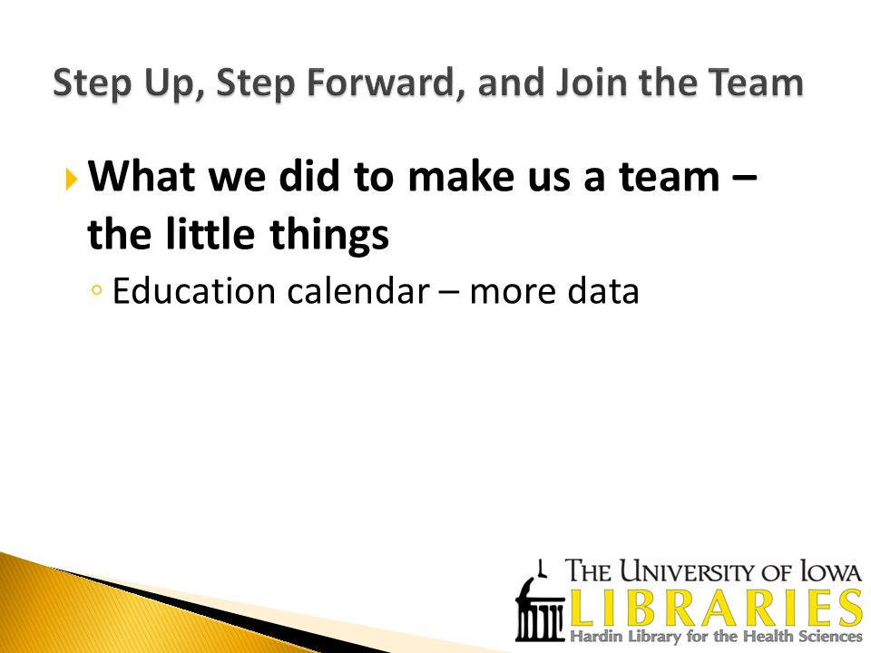  What we did to make us a team – the little things ◦ Education calendar – more data