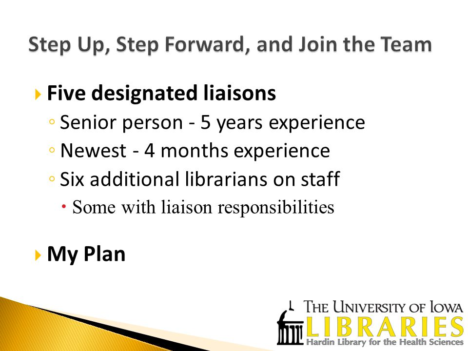  Five designated liaisons ◦ Senior person - 5 years experience ◦ Newest - 4 months experience ◦ Six additional librarians on staff  Some with liaison responsibilities  My Plan