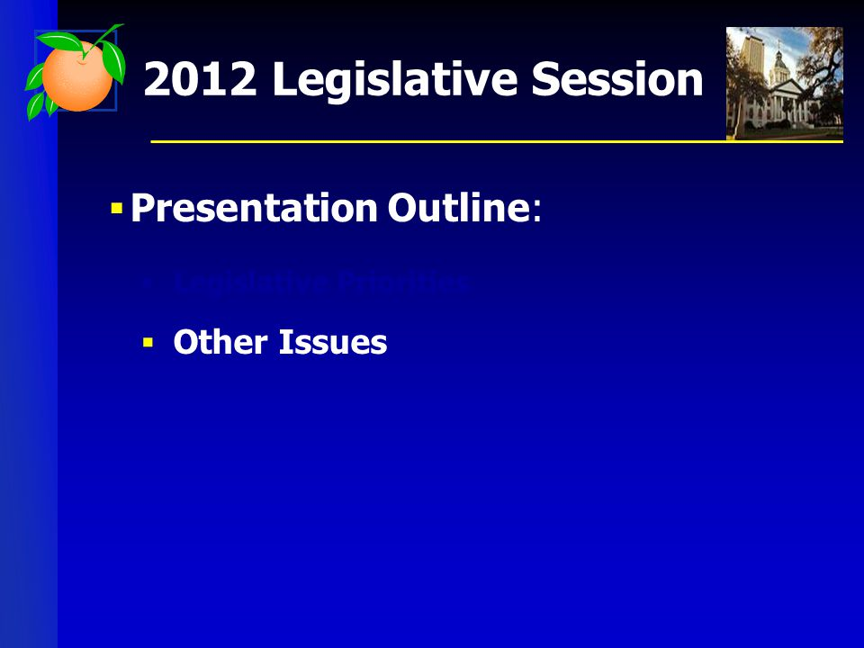  Presentation Outline:  Legislative Priorities  Other Issues