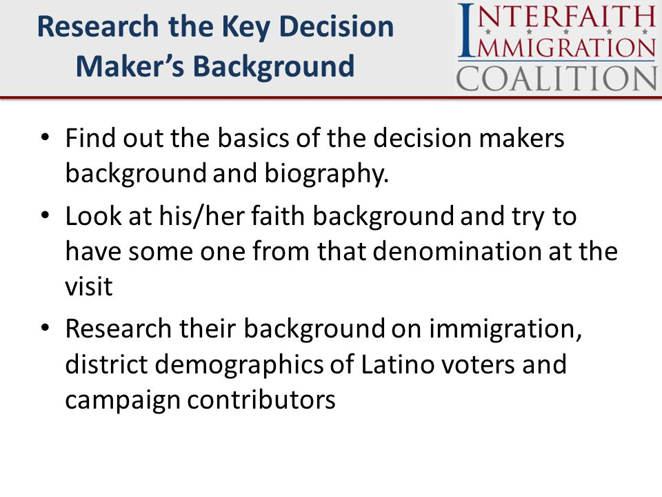 Find out the basics of the decision makers background and biography.