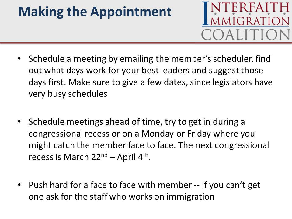 Schedule a meeting by emailing the member's scheduler, find out what days work for your best leaders and suggest those days first.