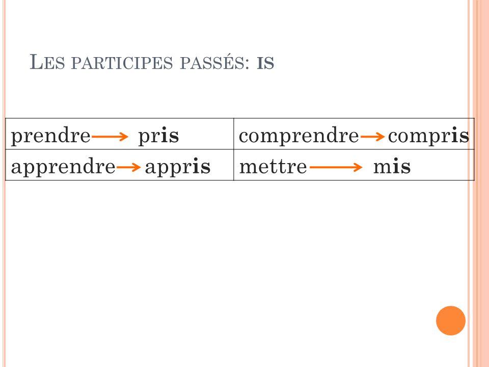 L ES PARTICIPES PASSÉS : IS prendre pr is comprendre compr is apprendre appr is mettre m is