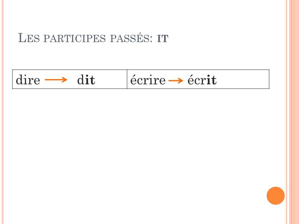 L ES PARTICIPES PASSÉS : IT dire d it écrire écr it