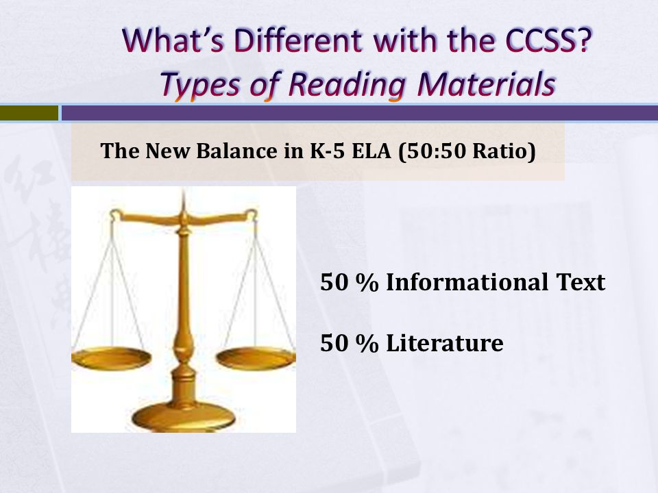 The New Balance in K-5 ELA (50:50 Ratio) 50 % Informational Text 50 % Literature