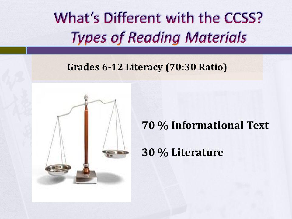 Grades 6-12 Literacy (70:30 Ratio) 70 % Informational Text 30 % Literature
