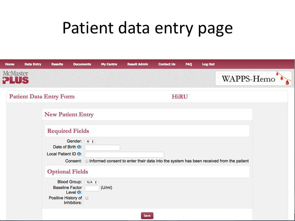 Patient data entry Patient data entry page