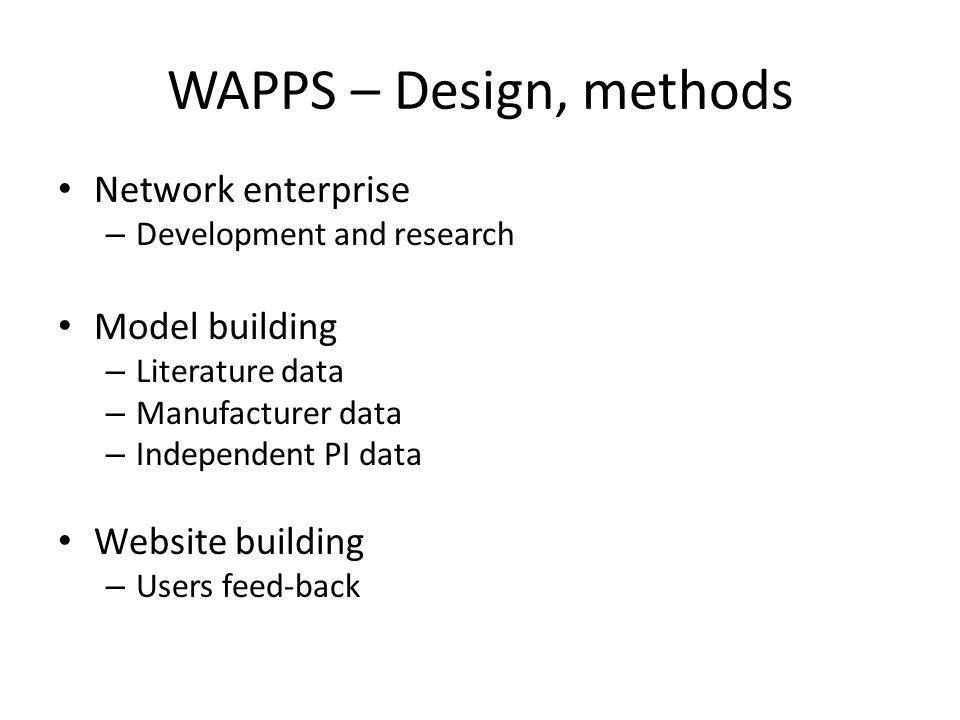 WAPPS – Design, methods Network enterprise – Development and research Model building – Literature data – Manufacturer data – Independent PI data Websi
