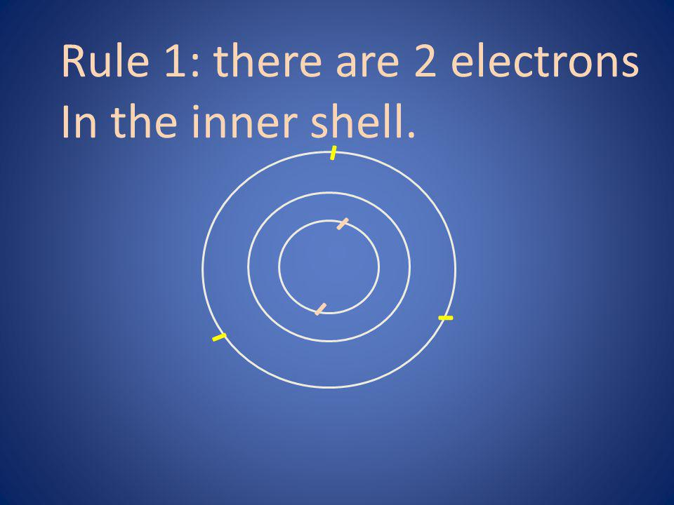 - Rule 1: there are 2 electrons In the inner shell. - - - -