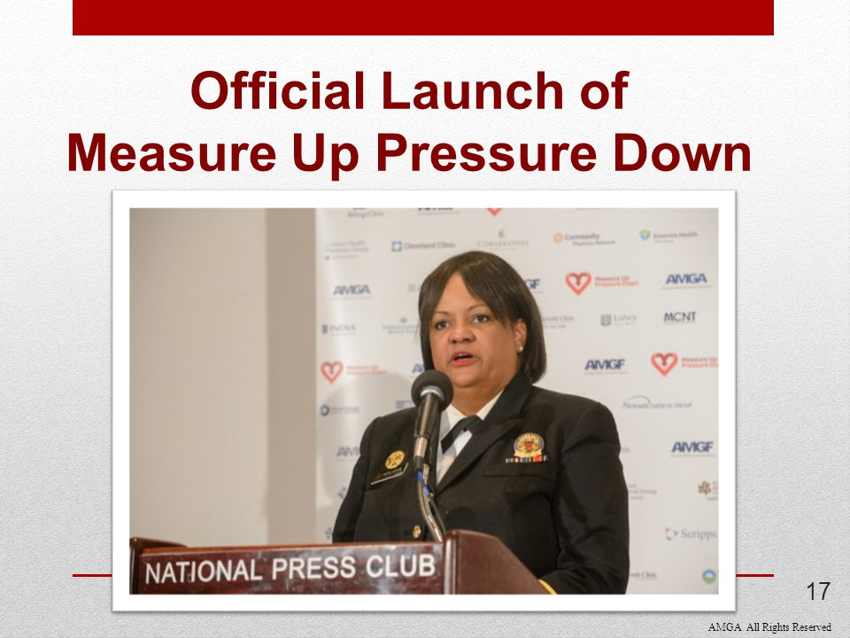 AMGA All Rights Reserved Official Launch of Measure Up Pressure Down 17
