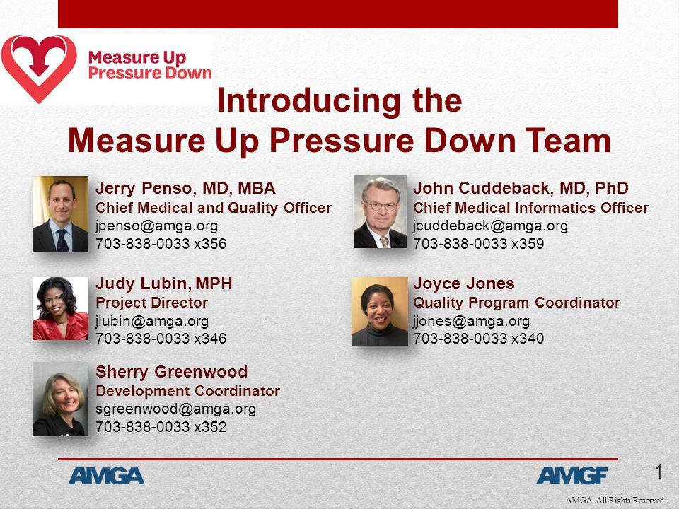 AMGA All Rights Reserved Introducing the Measure Up Pressure Down Team Jerry Penso, MD, MBA Chief Medical and Quality Officer jpenso@amga.org 703-838-0033 x356 Judy Lubin, MPH Project Director jlubin@amga.org 703-838-0033 x346 Sherry Greenwood Development Coordinator sgreenwood@amga.org 703-838-0033 x352 John Cuddeback, MD, PhD Chief Medical Informatics Officer jcuddeback@amga.org 703-838-0033 x359 Joyce Jones Quality Program Coordinator jjones@amga.org 703-838-0033 x340 1