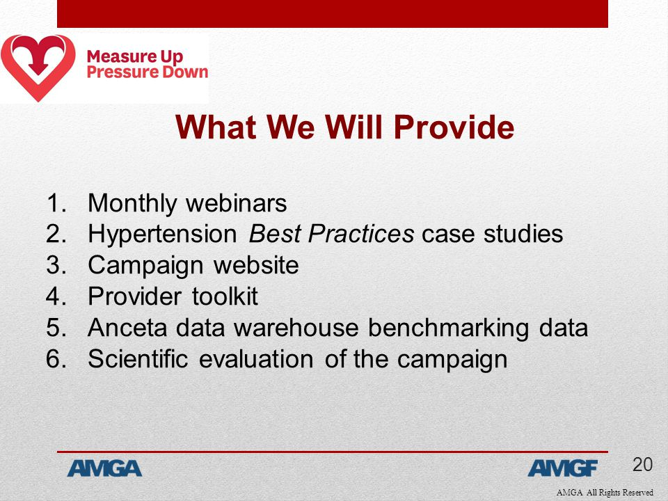 AMGA All Rights Reserved What We Will Provide 1.Monthly webinars 2.Hypertension Best Practices case studies 3.Campaign website 4.Provider toolkit 5.Anceta data warehouse benchmarking data 6.Scientific evaluation of the campaign 20