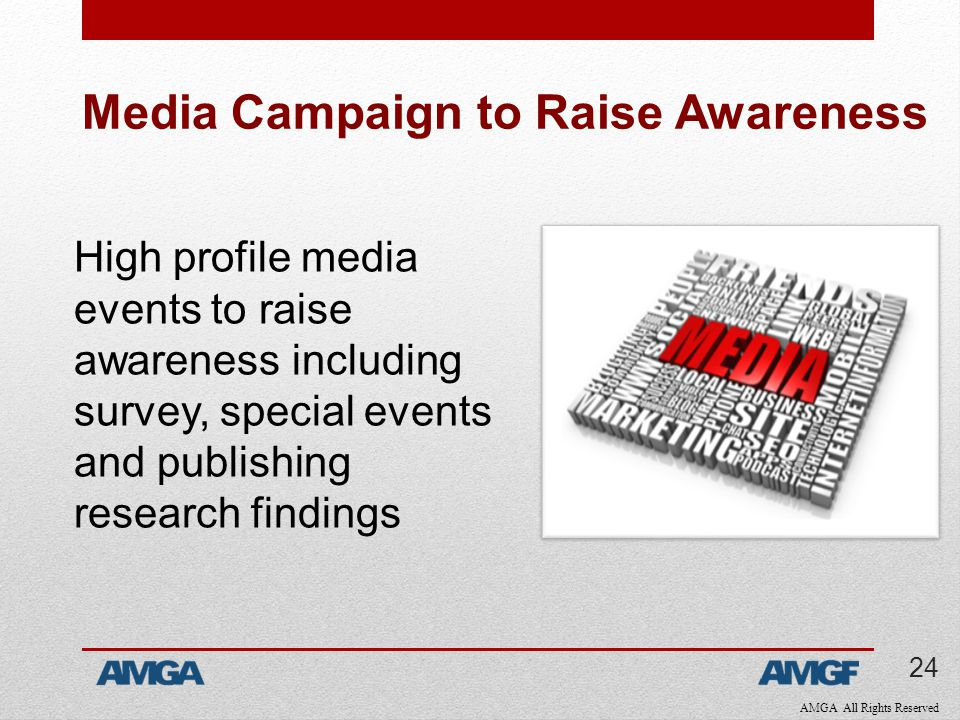 AMGA All Rights Reserved Media Campaign to Raise Awareness High profile media events to raise awareness including survey, special events and publishing research findings 24