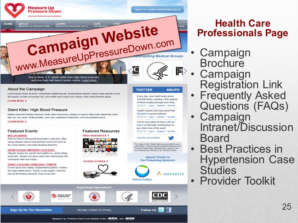 25 Health Care Professionals Page Campaign Brochure Campaign Registration Link Frequently Asked Questions (FAQs) Campaign Intranet/Discussion Board Best Practices in Hypertension Case Studies Provider Toolkit Campaign Website www.MeasureUpPressureDown.com