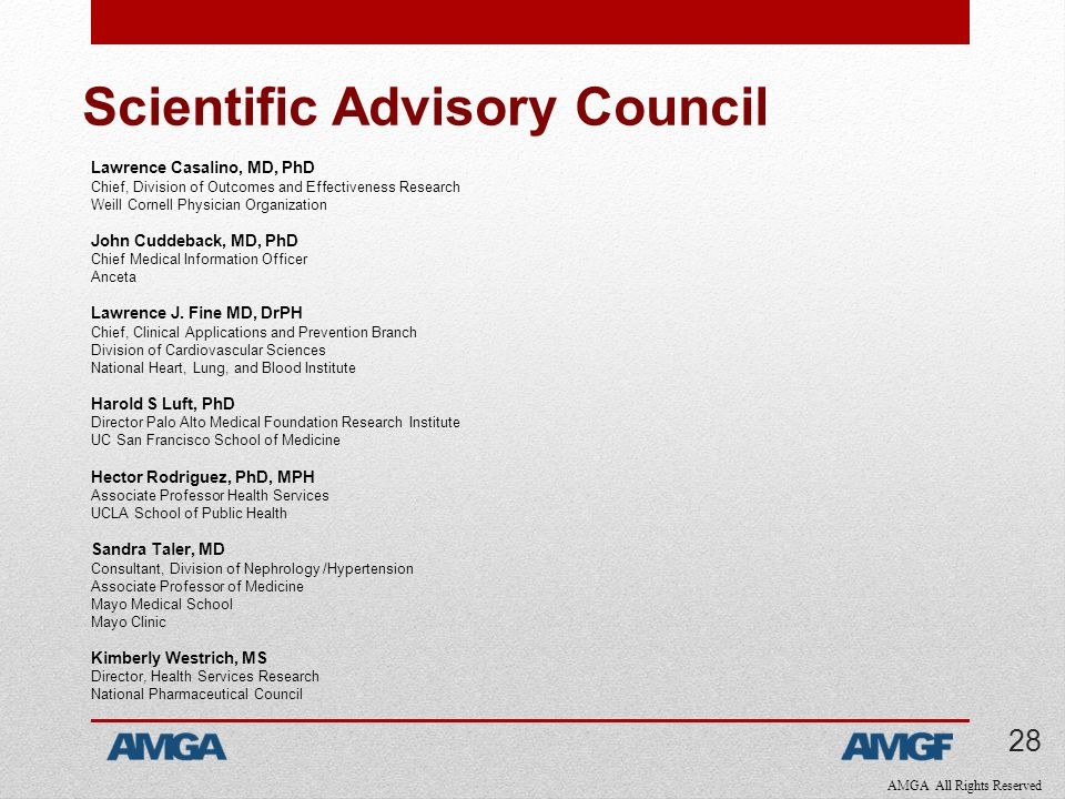 AMGA All Rights Reserved Scientific Advisory Council Lawrence Casalino, MD, PhD Chief, Division of Outcomes and Effectiveness Research Weill Cornell Physician Organization John Cuddeback, MD, PhD Chief Medical Information Officer Anceta Lawrence J.