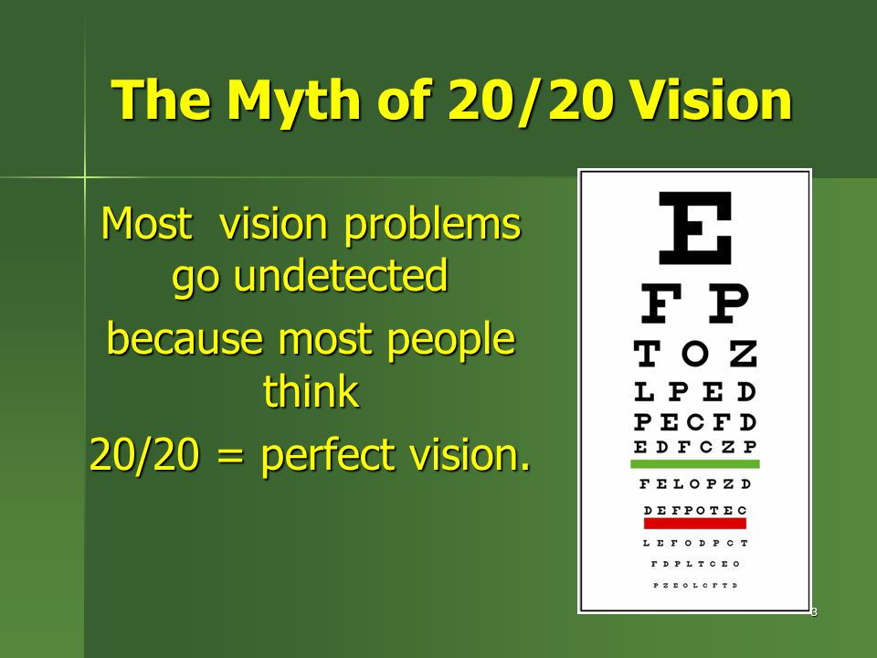 The Myth of 20/20 Vision Most vision problems go undetected because most people think 20/20 = perfect vision. 3
